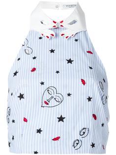 embroidered striped top Vivetta