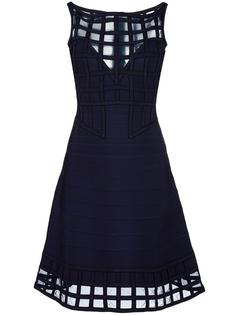 расклешенное платье с сетчатыми панелями Hervé Léger