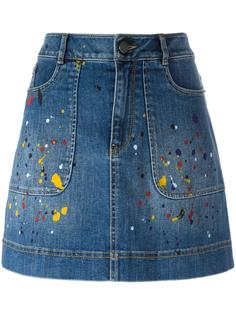 splatter print denim skirt Alice+Olivia