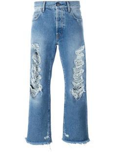 укороченные джинсы с рваными деталями Palm Angels