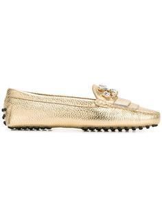 embellished fringed loafers  Tods