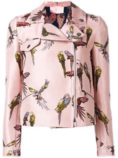 байкерская куртка с принтом попугаев Giamba