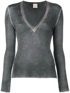 V neck detail sweatshirt  Nude