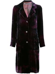 velvet effect single breasted coat Raquel Allegra