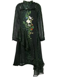 платье с цветочным принтом и эффектом змеиной кожи Preen By Thornton Bregazzi