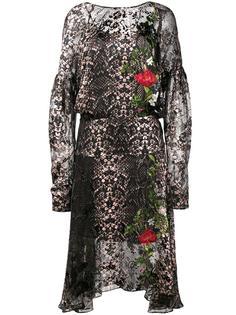 шифоновое платье с принтом змеиной кожи Preen By Thornton Bregazzi