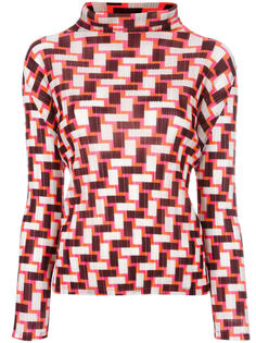 geometric print pleated blouse  Pleats Please By Issey Miyake