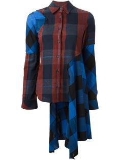 асимметричная рубашка в клетку Mm6 Maison Margiela