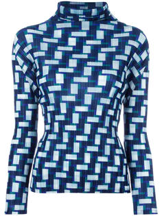 geomtric print pleated blouse  Pleats Please By Issey Miyake