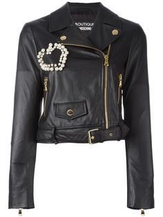 декорированная байкерская куртка  Boutique Moschino