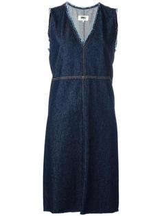 джинсовое платье с V-образным вырезом Mm6 Maison Margiela