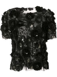блузка с отделкой цветами и пайетками Marchesa