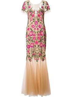 платье с вышитым цветочным узором Marchesa Notte
