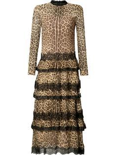 платье с леопардовым рисунком и оборками Red Valentino