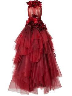 платье с цветочной отделкой Marchesa