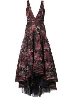 floral print cascading dress Marchesa Notte