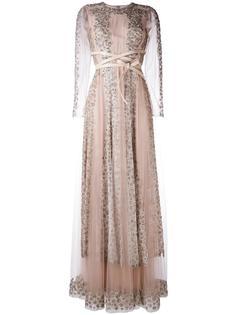 кружевное длинное платье с кристаллами Valentino