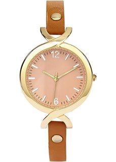 Часы на узком браслете (светло-коричневый) Bonprix