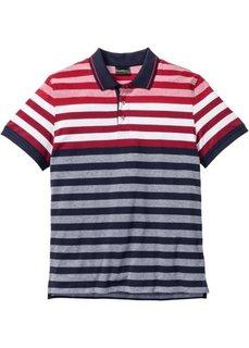 Футболка-поло Regular Fit в полоску (красный/белый/темно-синий в по) Bonprix