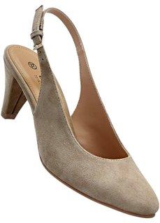 Кожаные туфли с открытой пяткой (темно-синий) Bonprix