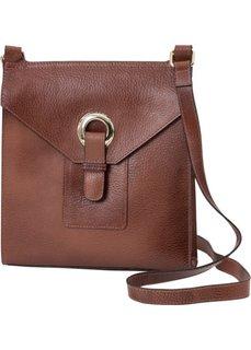Кожаная сумка через плечо с заклепкой (коричневый) Bonprix