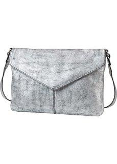 Кожаная сумка с металлическим отливом (серебристый) Bonprix