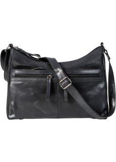 Кожаная сумка на ремне через плечо (черный) Bonprix