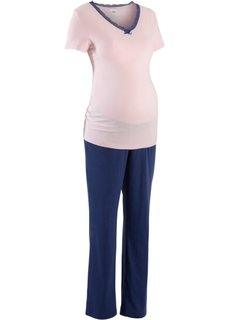 Пижама для будущих мам (розовый/темно-синий) Bonprix