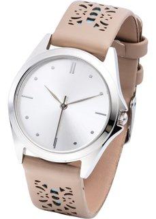 Часы с перфорацией на браслете (темно-серый/розовый) Bonprix