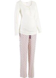Пижама для будущих и кормящих мам (кремовый/с принтом) Bonprix