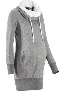 Трикотажное платье для беременных (серый меланж) Bonprix