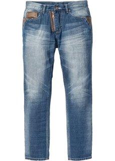 Свободные джинсы с зауженными книзу штанинами, длина в дюймах 32 (синий «потертый») Bonprix