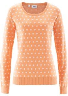 Пуловер (светло-серый меланж/белый в го) Bonprix