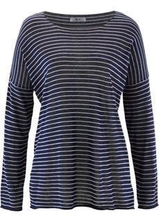 Вязаная футболка с рукавом 3/4 (светло-серый меланж в полоску) Bonprix