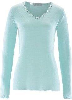 Пуловер со стразами (светлый персиковый/серебристый) Bonprix