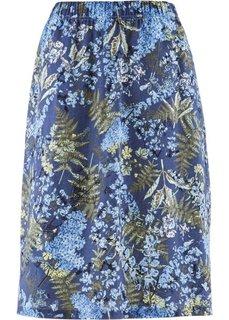 Льняная юбка с цветочным принтом (нежно-лимонный с рисунком) Bonprix
