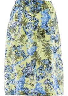 Льняная юбка с цветочным принтом (индиго с рисунком) Bonprix