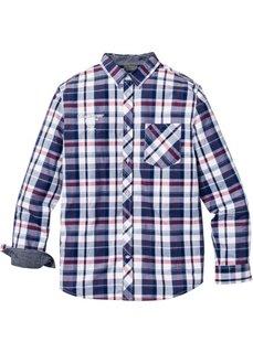 Клетчатая рубашка Regular Fit с длинным рукавом (бирюзовый/белый в клетку) Bonprix