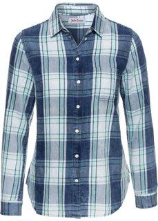 Винтажная клетчатая блузка с длинным рукавом (темно-синий/бежевый) Bonprix