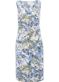 Льняное платье с цветочным принтом (индиго с рисунком) Bonprix