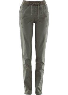 Стрейтчевые брюки с поясом в резинку (кленово-красный) Bonprix