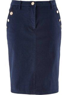 Стрейтчевая юбка с золотыми пуговицами (белый) Bonprix