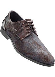 Кожаные туфли на шнуровке (черный) Bonprix