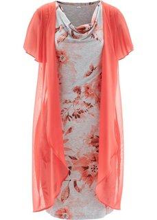 Трикотажное платье 2 в 1 (светло-серый меланж/синий инди) Bonprix