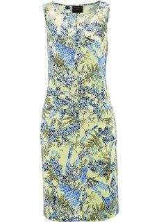 Льняное платье с цветочным принтом (белый с рисунком) Bonprix