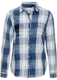 Винтажная клетчатая блузка с длинным рукавом (темно-синий/аква пастельный) Bonprix