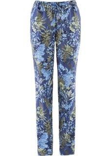 Льняные брюки с цветочным принтом (белый с рисунком) Bonprix