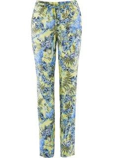 Льняные брюки с цветочным принтом (индиго с рисунком) Bonprix