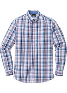 Клетчатая рубашка Regular Fit с длинным рукавом (синий/белый в клетку) Bonprix