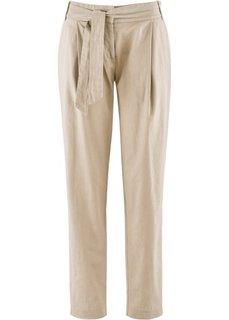 Льняные брюки с поясом (белый) Bonprix